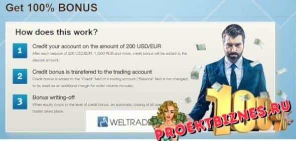Weltrade бонусы и акции